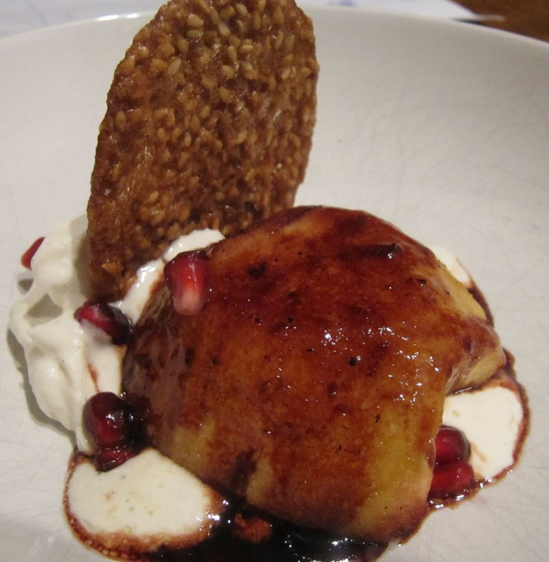 Red wine roasted apples benne wafers